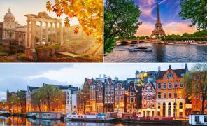 Pacote de Viagem para Roma + Paris + Amsterdam com Diárias Grátis - 2022 e 2023